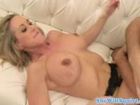 Sexy milf squirting on dude close up