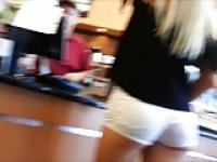 Tight ass blond at coffee shop