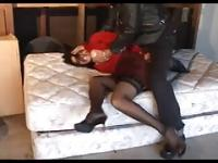Brunette MILF In Nylons Gets Roughly Fucked