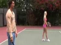 A hardcore teenie tennis lesson