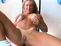 Muscular Blonde Flexes Pussy Lips Around Vibrator- Telsev