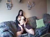 Busty indian girl masturbating in the sofa