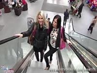 Two German girls having fun at the mall