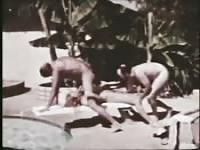 Vintage threesome in the pool