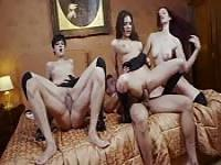Orgy with three European babes