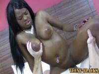 Black and busty teen slut eaten out