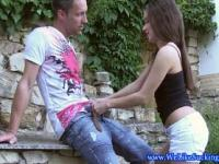 Amateur blowjob euro babe deepthroats outdoor
