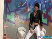 Slut fake cum covered at gloryhole