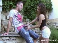 Cumshot and blowjob in the garden
