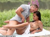 DaringSex Sensual Brunette Outdoor Doggystyle
