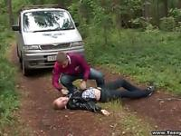 Teen couple goes camping for outdoor fucking