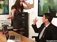 Stupid secreatary in sexy lingerie and stockings gets fucked hard on top of the office