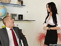 Busty secretary with pierced nipples gets fucked in the office wearing only her fishnet stockings