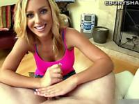 Blond babe Stacy Adams stroking cock