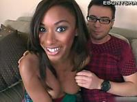 Ebony teen Bella Morietti does blowjob
