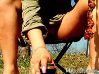 Enticing brunette amateur wife Dasha flashing pink quim upskirt and drinking beer at a picnic