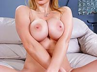 Lusty big boobed blonde loves giving blowjobs on camera