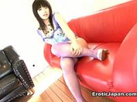 Good looking Japanese doll Akane Oozora getting hairy quim licked by a horny guy
