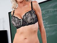 Blonde bombshell college teacher fucking student
