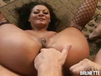 Nasty brunette ass fingered and anal fucked deep
