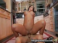 Fucked and flustered on the kitchen floor with busty brunette