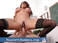 Bad busty and hot brunette teacher get punished by student