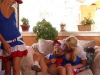 Three Gorgeous College Cheerleaders Get Freaky