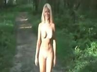 hot blonde nude forest walk