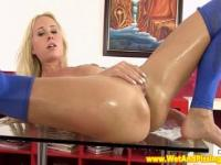 Piss loving glamour blonde alone at home