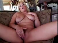 Blonde Fingers Her Pussy On The Couch