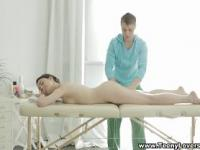Teeny fucked on massage table