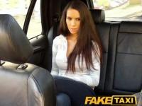 FakeTaxi Cute brunette gets fucked on taxi backseat