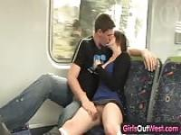 Amateur couple go to the train bed