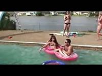 Veronica Rodriguez and Liz partying in the pool