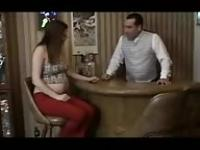 Pregnant girl fucks the waiter