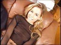 Cute blonde fucked on the couch