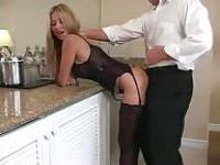 Horny busty MILF gets fucked at home
