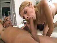 Blonde in pigtails fucked by a monster cock
