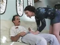Young brunette fucking with an old man