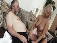 Old man fucks a busty blonde