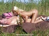 Fucking with a blonde in the middle of the Dutch countryside