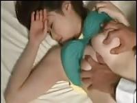 Fucking a japanese girl while she sleeps