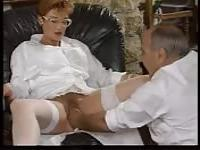 Mature French woman fucking with two guys
