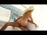 Blond whore fucked on a boat