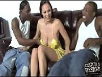 Fucking with two black while her husband watches