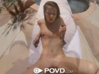 POVD Girl gets fucked and eats cum outside by pool