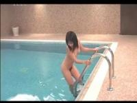 Horny Japanese couple having a pool 3some with teen bab