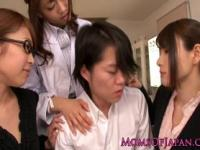 Japanese MILFs in lingerie punish dude in doctors offic