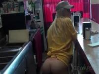 Blonde girl at work taking hard fuck from behind in POV