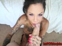 Tattooed babe gives head